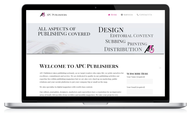 APC Publishers website on laptop