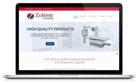 zoltem consulting website on laptop