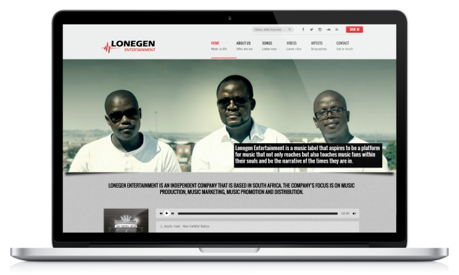 Screenshot of Lonegen Entertainment's website
