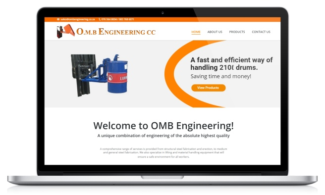 Screenshot of OMb Engineering's website