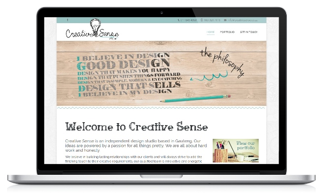 Screenshot of Creative Sense's website