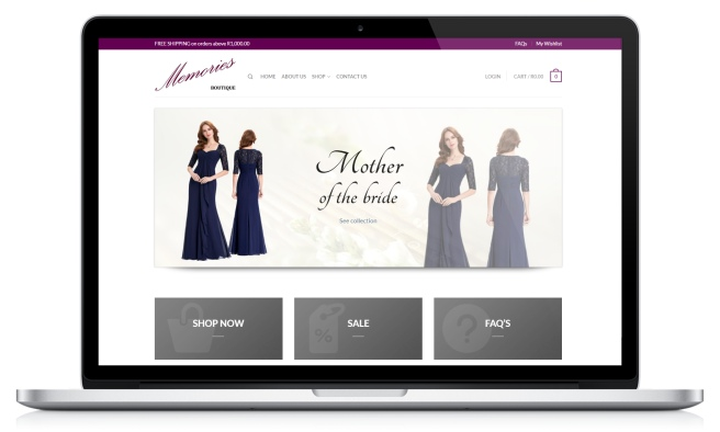 Screenshot of Memories Boutique's home page