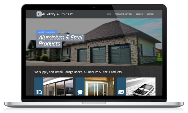 Screenshot of Auxillary Aluminium's website